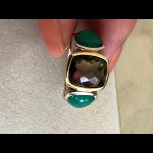 Authentic DY ring with green onyx and smoky Quartz